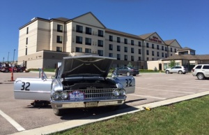 Betty just having been brought back to life in front of the Hilton Garden Inn at Rapid City.