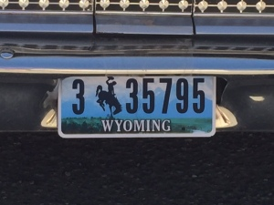 Betty with her new Wyoming number plates. A relief to get as the temporary plates had expired. Other states would not issue these.
